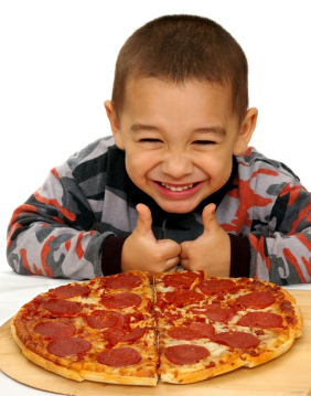 happy eating pizza